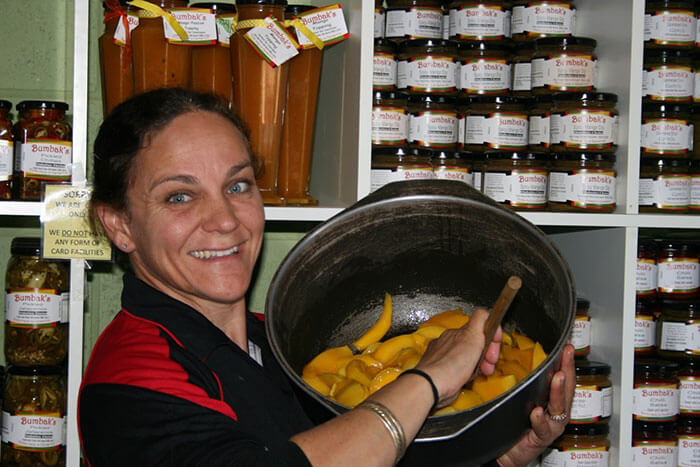 Jo with her products on the farm